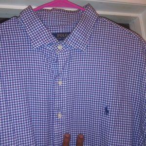 Men's 2x blue, purple& grey plaid polo casual shir